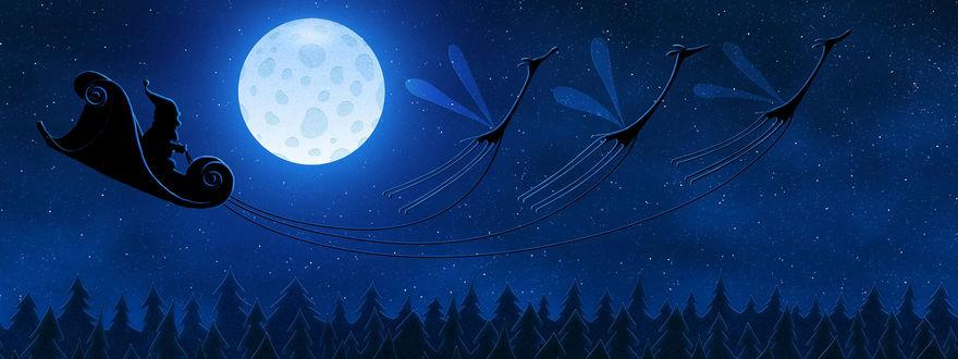 Обои Санта Клаус несётся над ёлочками в звёздном небе на санях, в которые запряжены крылатые олени