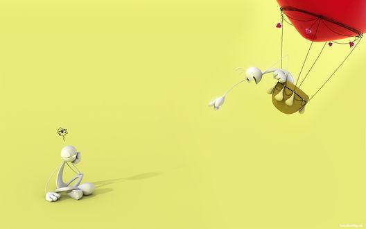 Обои Один белый человечек улетает от другого на красном воздушном шаре, а тот который остался желает ему смерти