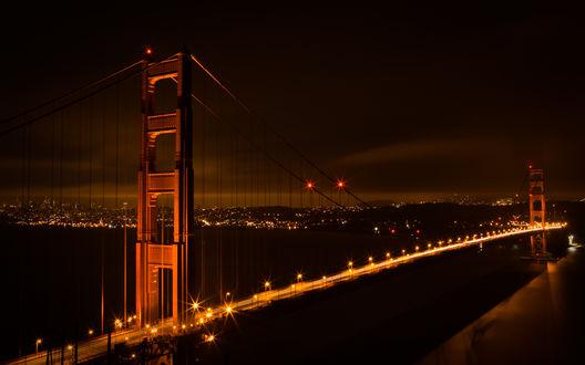 Обои Ночной мост.. огоньки вдали