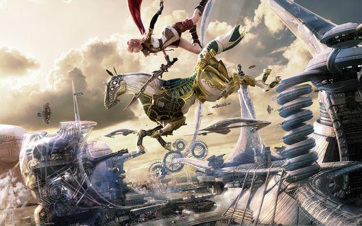 Обои В будущем, среди эры машин и необычных строений, рыцарь на коне в доспехах и с мечом