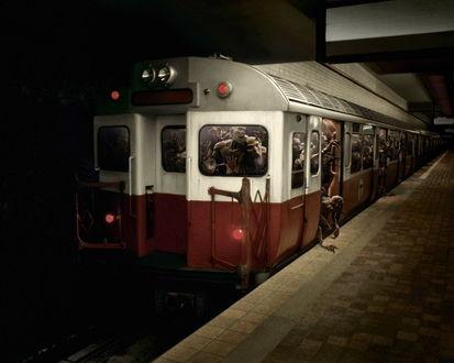 Обои Поезд в метро с монстрами
