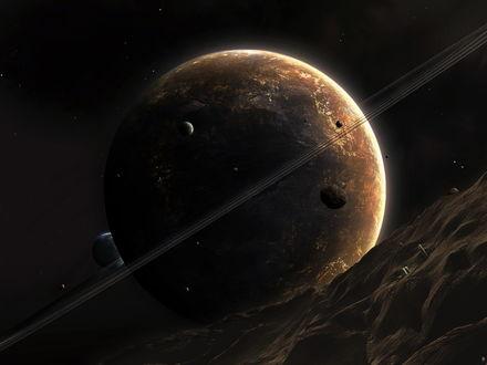Обои Вид на Юпитер с одного из его спутников
