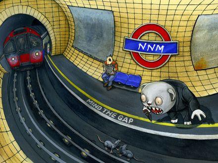 Обои Метро, станция NNM (почти МММ) с предупреждающими надписями MIND THE GAP, в нём крысы и зубастый чудик