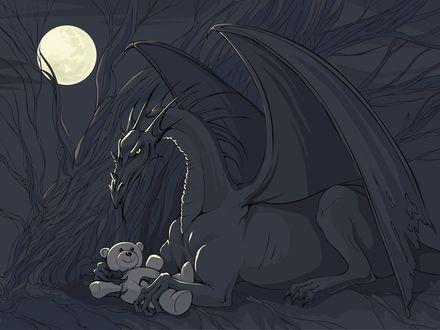 Обои Дракон баюкает игрушечного мишку, тот улыбается в ответ...