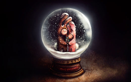 Обои Детишки в костюме крольчат в новогодней игрушке (Merry Christmas)