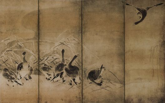 Обои Японская ширма с мотивом гусей
