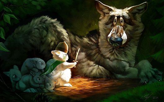 Обои Храбрый зайчишка со своим многочисленный семейством пытаются напугать ничего не понимающего волка
