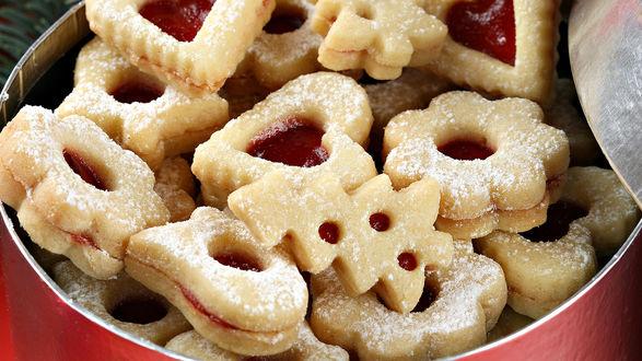 Обои Печенье с джемом в сахарной пудре