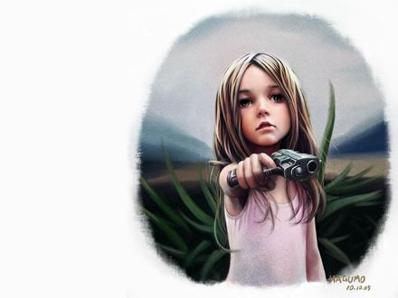 Обои Грустно это смотрится - пистолет в руках у ребенка. (Nagumo 10.10.05)