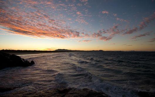 Обои Вечер. Закат солнца на море.