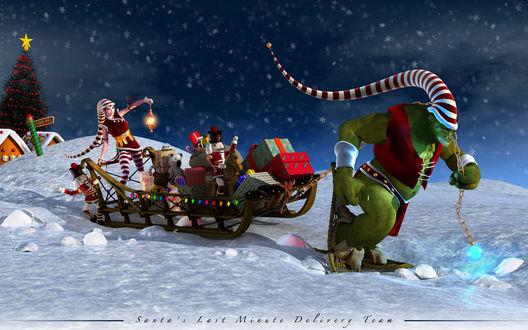 Обои В роли снегурочки и Санты - герои игры, которые тащат подарки в санях (Santa's last Minute Delivery Team)