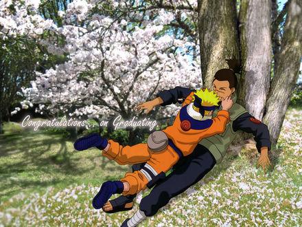 Обои Наруто кинулся обнимать Ируку, аниме Наруто (Congratulations.. on Graduating)