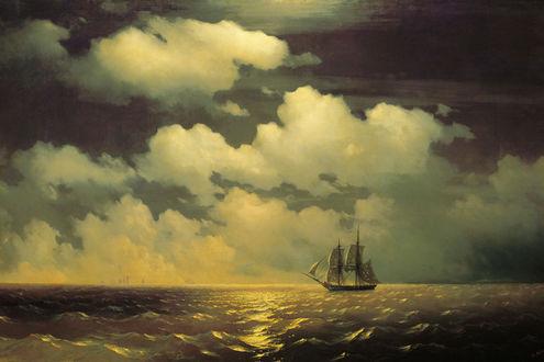 Обои Корабль плывет по морю
