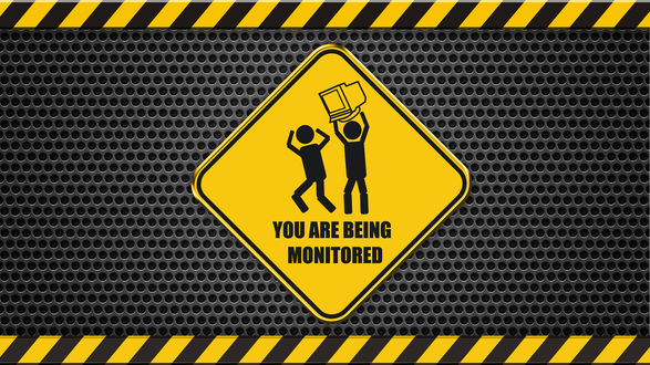 Обои Человечек бьет другого на знаке, монитором (You are being monitored)
