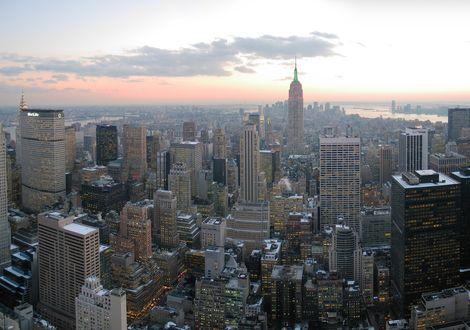 Обои Вечерний Нью-Йорк с высоты птичьего полета