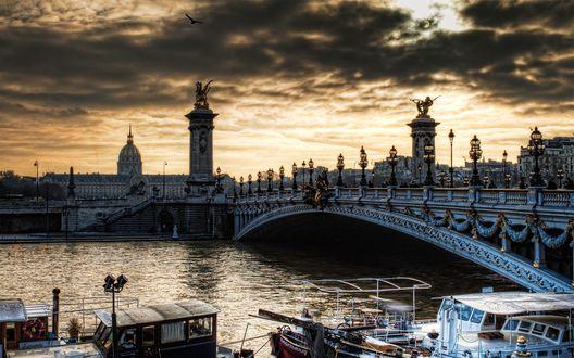Обои Мост Александра 3 в Париже, Франция