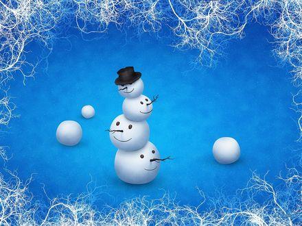 Обои Неправильно сложенные снеговики, наверно, дело было в ночь на 1 января