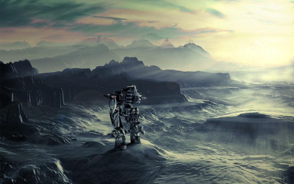 Обои для рабочего стола Робот, посланец землян, приводнился на дальней планете.
