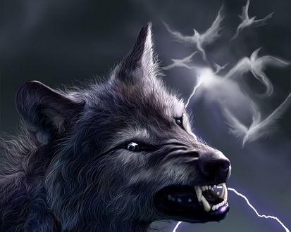 Обои Сверкают молнии,  в небе призрачные силуэты птиц и злой оскал волка, превращающегося в оборотня