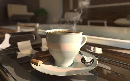 Обои Утренняя чашка бодрящего кофе с шоколадом