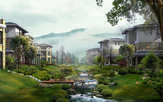 Обои Коттеджный городок выстроенный вдоль маленькой речушки