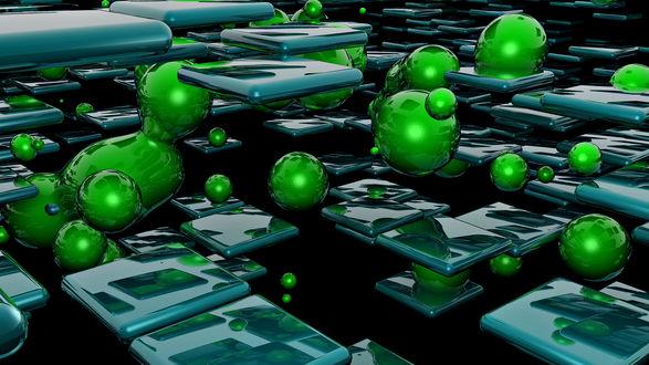 Обои Зеленый капли и плитки в пространстве