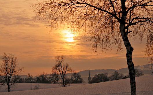 Обои Зимний закат солнца