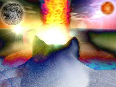 Обои Другие миры-фантастическое смешение красок, буйство фантазии, два Солнца, каждый найдёт на этой картинке своё...