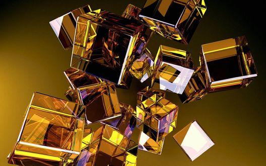 Обои Стеклянные кубики в воздухе