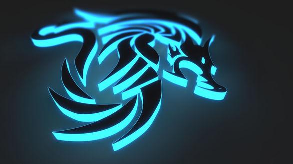 Обои Неоновая эмблема с волком