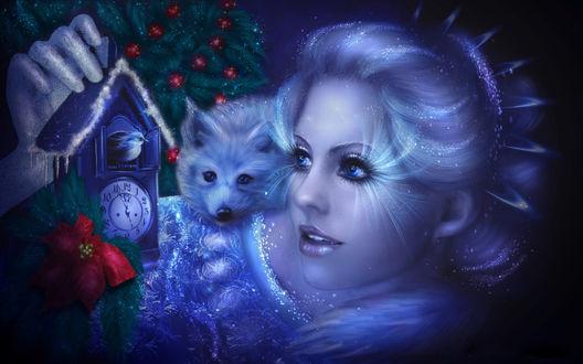 Обои Сказочный образ снегурочки с лисенком на плече... ожидание нового года