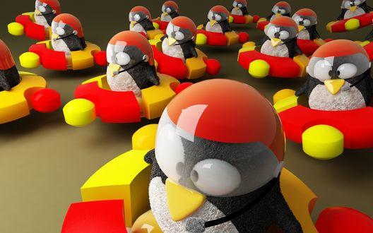 Обои Пингвины в шлемах Linux