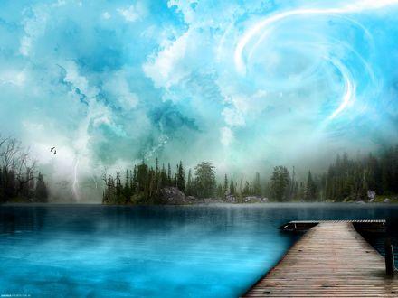 Обои Фантастический пейзаж с водной гладью и мостиком