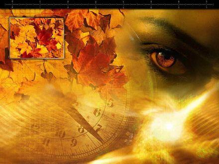 Обои Женский глаз, кленовые листья и часы в медовом цвете