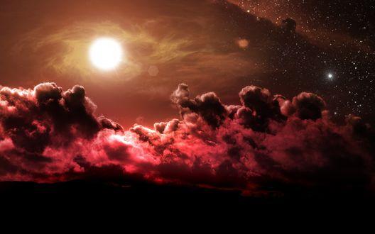 Обои Красные облака