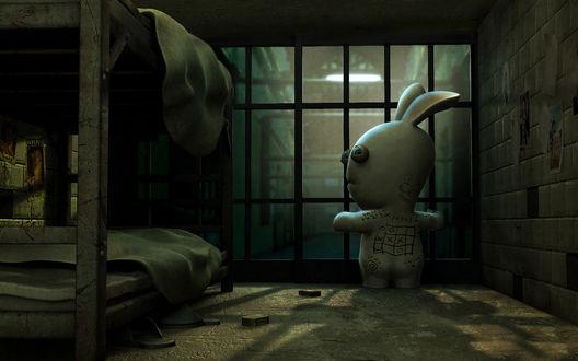 Обои Rayman Raving Rabbits Разрисованный кролик за решеткой