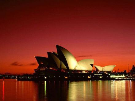 Обои Здание оперы в Сиднее в ночное время ...