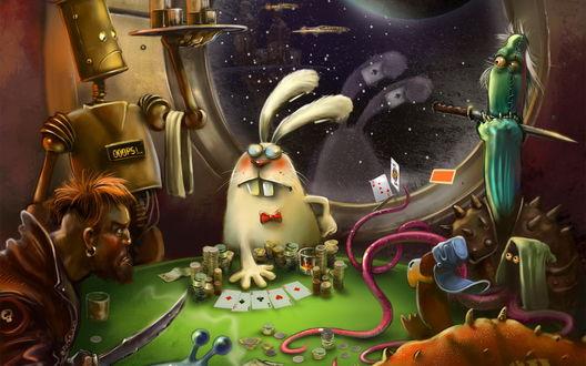 Обои Игра в покер на космическом корабле. Заяц явно мухлюет, и прячет карты за ушами, космические пираты уже начали что-то подозревать...