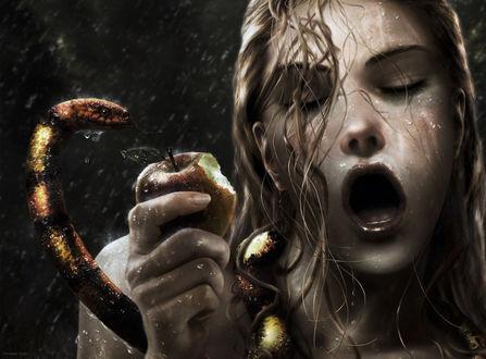 Обои Ева вкусила запретного яблока.. по совету змеи