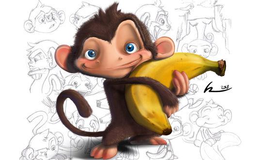 Обои Счастливая мартышка с бананом