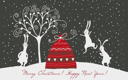 Обои Зайцы скачут вокруг мешка с подарками (Marry Christmas! Happy New Year!)