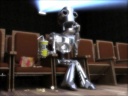 Обои Робот с интересом смотрит кино и пьет Oil