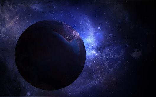 Обои Одинокая планета во тьме