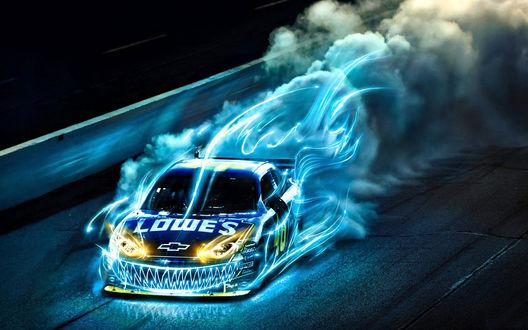 Обои Гоночная машина LOWES мчится, объятая синим пламенем