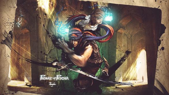 Обои Главный герой и его спутница Элика в храме, из игры Prince of Persia / Принц Персии (2008)