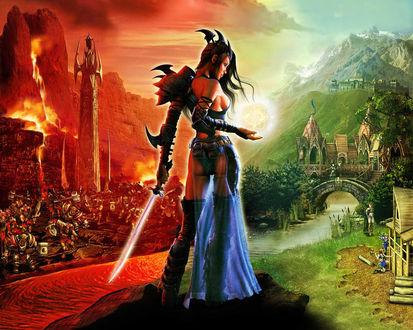 Обои Девушка-воин между сторонами добра и зла из игры SpellForce: The Order of Dawn