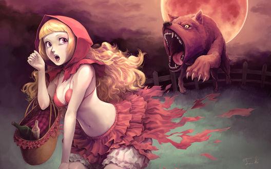 Обои Серый Волк и Красная Шапочка