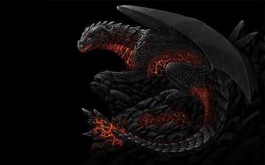 Обои Черный дракон как будто горит изнутри.. на хвосте у него шипы