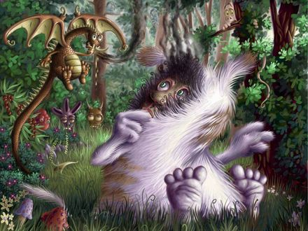 Обои По сказочному лесу бродит много разных чудиков, двое из них  встретились лицом к лицу на большой поляне и с изумлением рассматривают друга друга