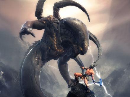 Обои Монстр сражается с храбрым войном